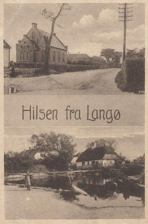 Postkort med foto af Langø Kirke og branddam